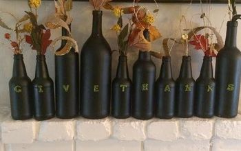 thanksgiving decorations new ideas, basement ideas, halloween decorations, home decor, seasonal holiday decor, thanksgiving decorations, Chalkboard spray paint your used wine bottles