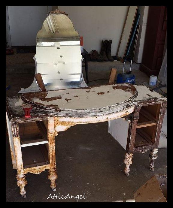 painted furniture vanity antique, painted furniture - Antique Vanity Gets Painted Makeover Hometalk