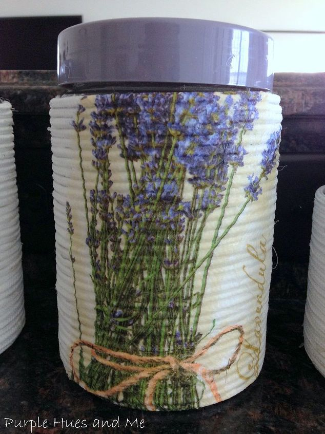 decoupage napkins glass container wrapped rope, crafts, decoupage, home decor