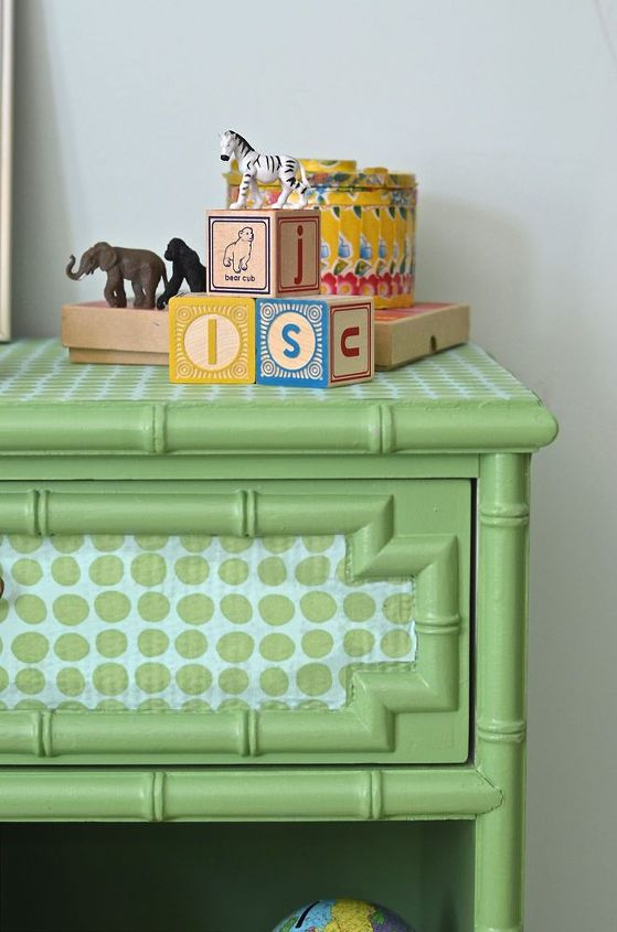 goodwill table transformation with polka dot fabric, bedroom ideas, home decor, painted furniture