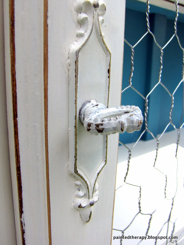 Updating An Old Hutch With Paint and Chicken Wire   Hometalk