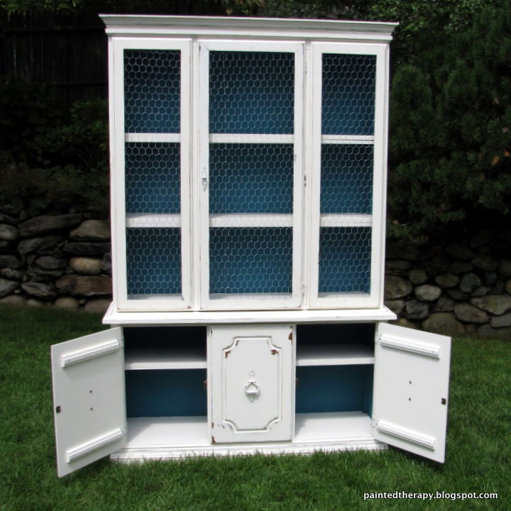Updating Old Hutch With White Paint Chicken Wire Painted Furniture Repurposing Upcycling Shabby