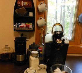 create a coffee station for less, kitchen design, Finished Coffee Station