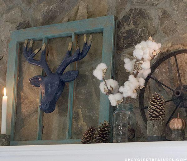 fall mantel decor using turquoise, fireplaces mantels, seasonal holiday decor