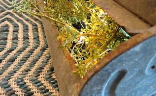 upcycle barn chicken feeder into centerpiece, home decor, repurposing upcycling, rustic furniture