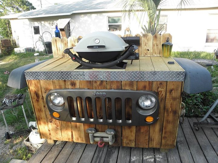 upcycle jeep parts into a bbq grill stand, diy, outdoor living, pallet, repurposing upcycling