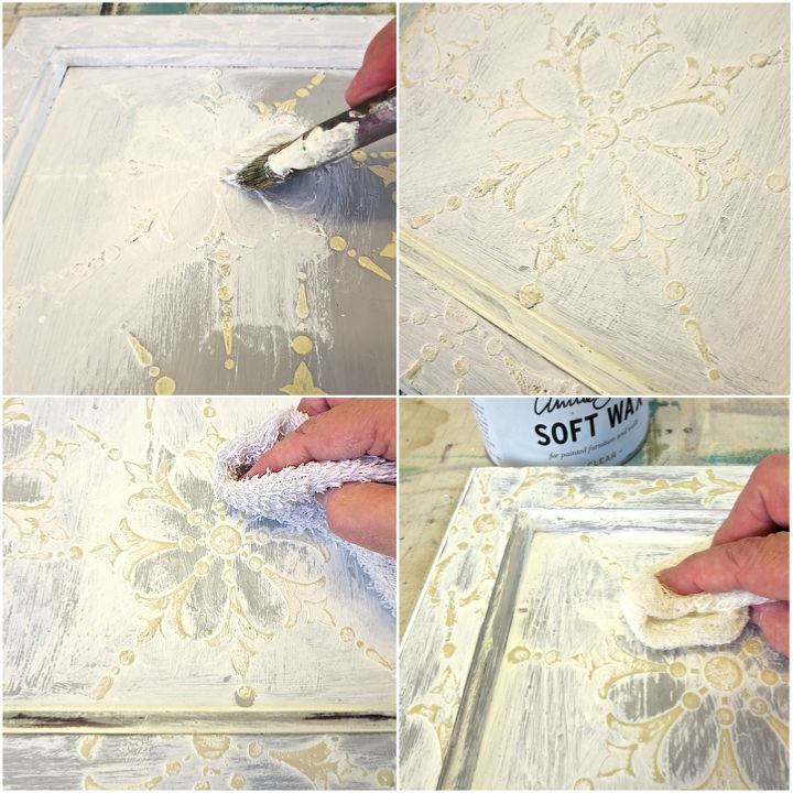 wood icing chalk paint and stencil to decroate cabinet, chalk paint, painted furniture, repurposing upcycling