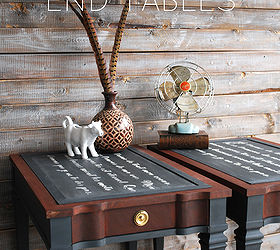 How To Chalkboard French Script End Tables, Chalkboard Paint, Diy, Painted  Furniture,