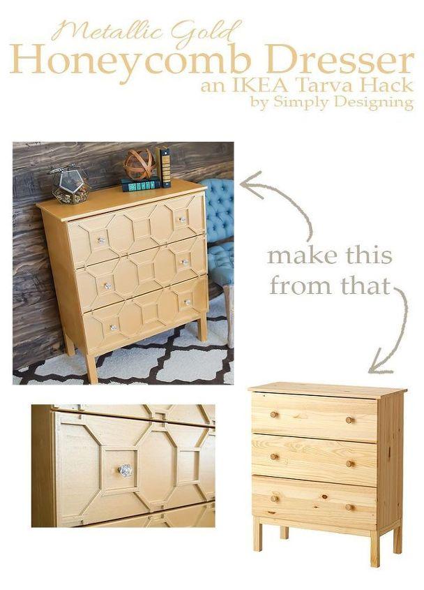 ikea tarva dresser hack metallic gold, diy, painted furniture, repurposing upcycling, woodworking projects