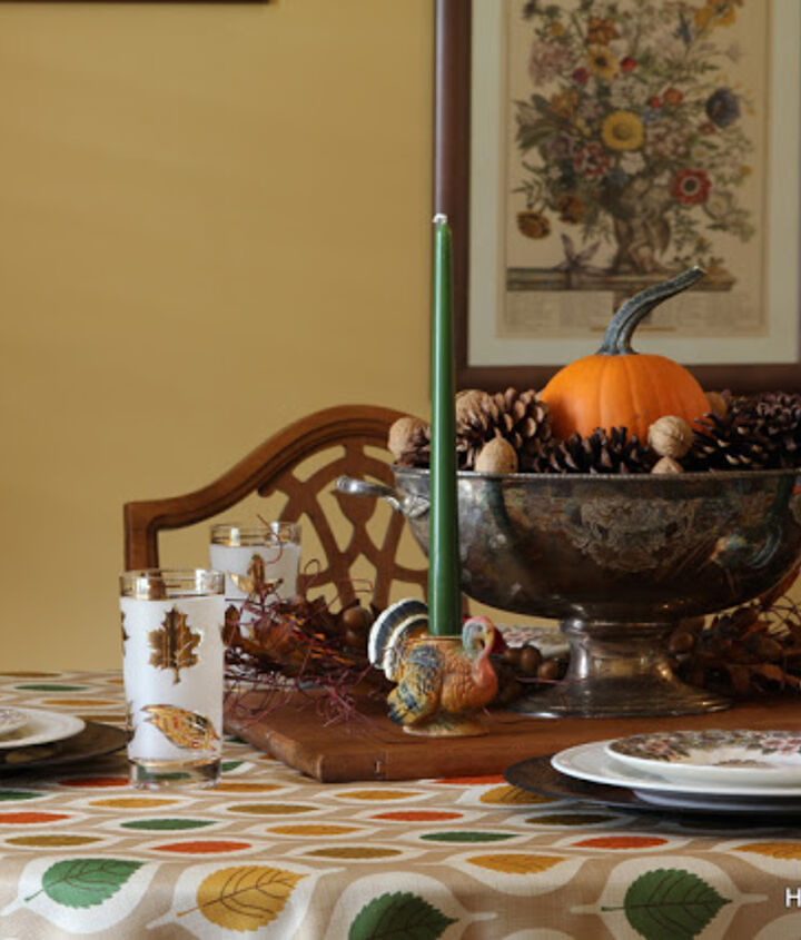 vintage inspired thanksgiving table brought to you by the thrift store, seasonal holiday decor, thanksgiving decorations