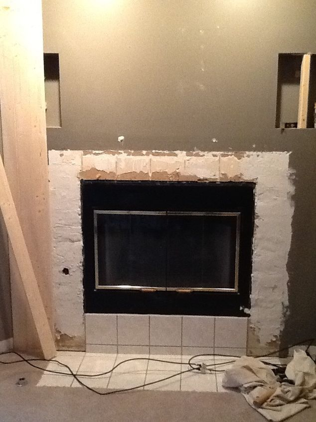 fireplace transformation incorporated with tv, diy, fireplaces mantels, living room ideas, painting, repurposing upcycling, woodworking projects