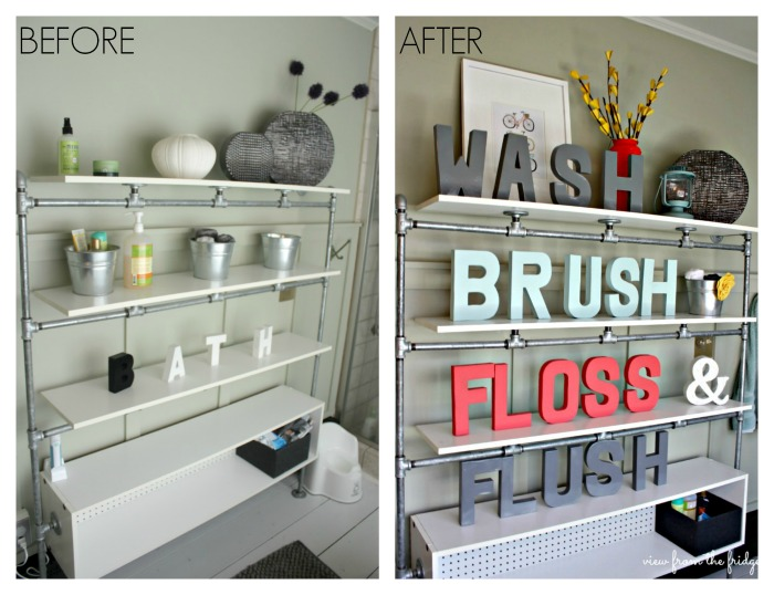 Industrial Pipe Shelves 'Before' and 'After'