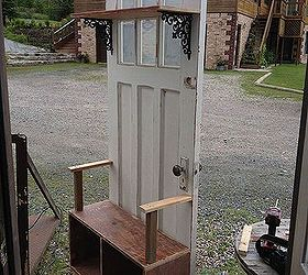 Hall Tree Made Out Of An Old Door, Diy, Doors, Painted Furniture,