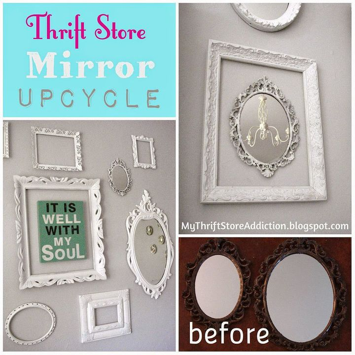 vintage mirror upcycle idea from thrift store, home decor, repurposing upcycling, wall decor