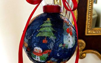 diy modpodge christmas ornament using napkins, christmas decorations, crafts, decoupage, seasonal holiday decor