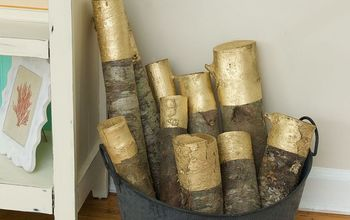 how to make gold painted decorative firewood, crafts, seasonal holiday decor