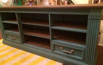 dresser to entertainment center redo, entertainment rec rooms, painted furniture