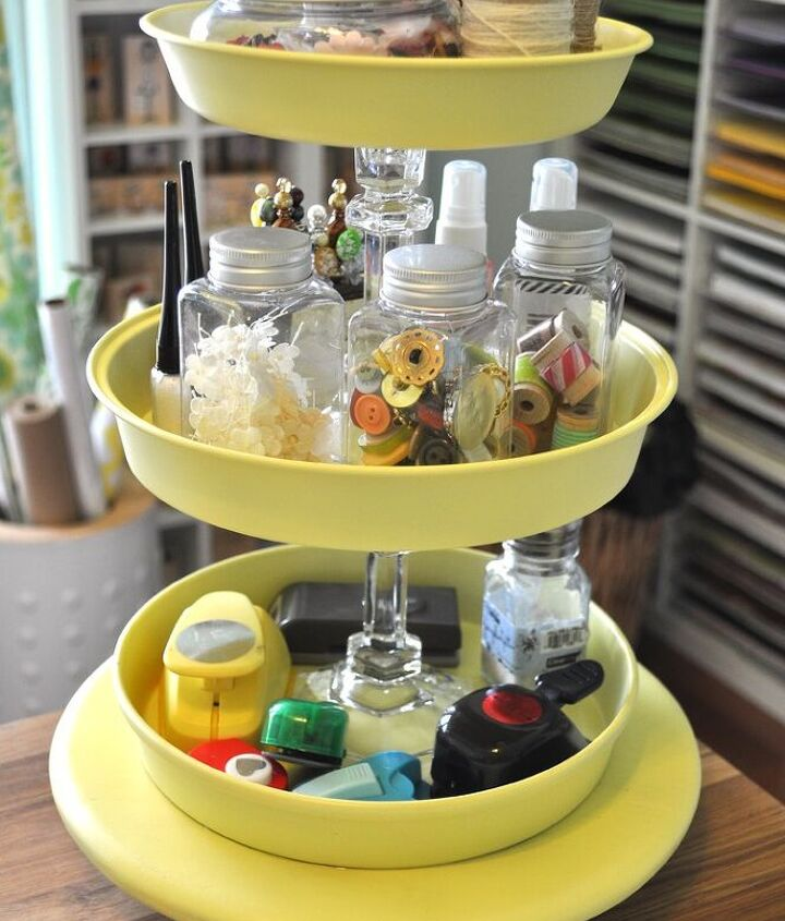 Craft supply holder from cake pans & candles