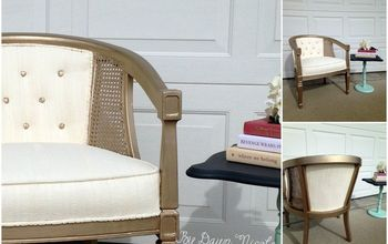 Barrel Cane Chair Makeover (with Painted Fabric!)