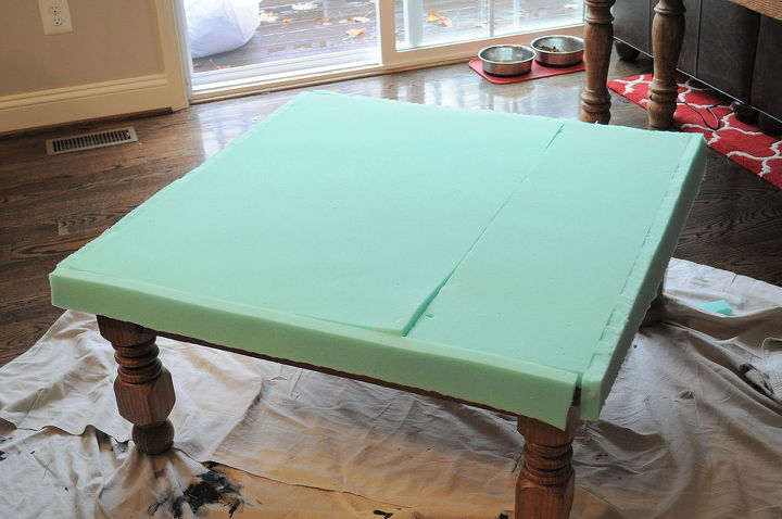 turning an old table into an ottoman, diy, how to, repurposing upcycling,