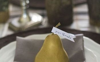 give thanks place setting using fake pear, dining room ideas, diy, repurposing upcycling, seasonal holiday decor, thanksgiving decorations
