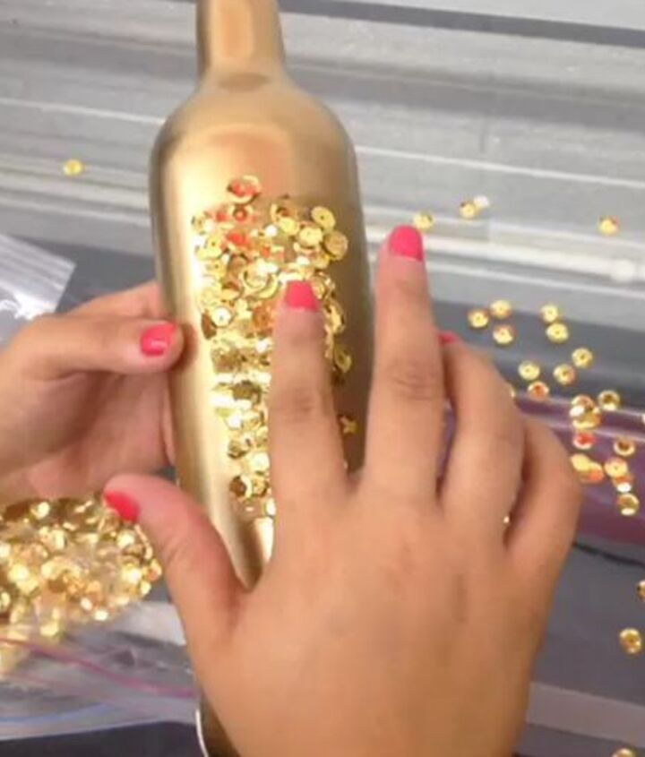 how to make holiday sequin glitter bottles, crafts, repurposing upcycling, seasonal holiday decor