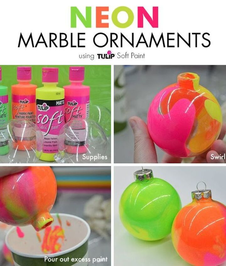 how to make neon marble ornament with tulip soft paint, christmas decorations, how to, seasonal holiday decor