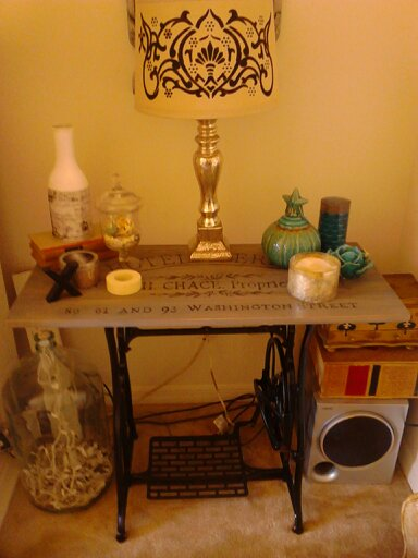 Vintage sewing machine base becomes a small table hometalk vintage sewing machine base to cute little table watchthetrailerfo