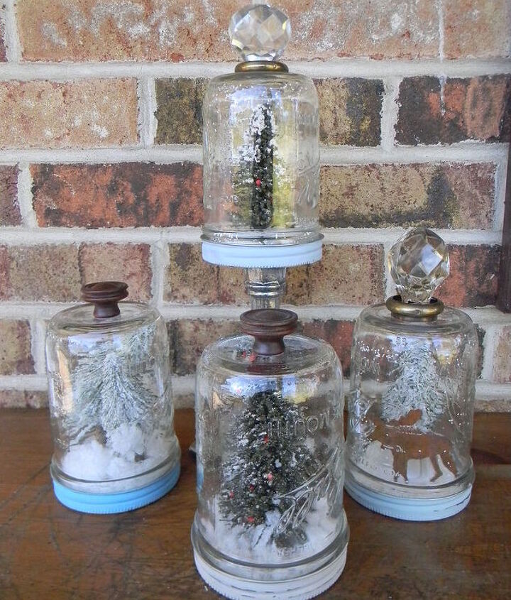 how to make mason jar snow globes, crafts, mason jars, repurposing upcycling, seasonal holiday decor