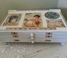shabby chic sewing drawer makeover, decoupage, painted furniture, shabby chic