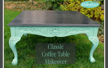 coffee table makeover using paint, painted furniture