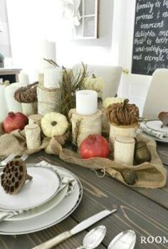 how to set up birch tree thanksgiving tablescape, seasonal holiday decor, thanksgiving decorations