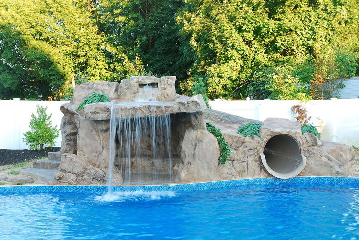 tube slide waterfall feature for backyard, outdoor living, ponds water features, pool designs