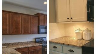 q ideas for over granite counter tops, countertops, diy, painting, Thanks for the input Great suggestions I decided to live with it and paint the cabinets white it added a more soft light tone that I was looking for