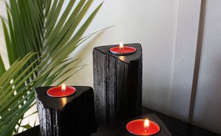 firewood pillar candle holders, diy, lighting, woodworking projects