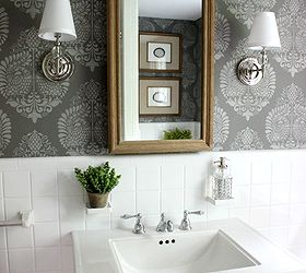 powder room makeover idea using a stencil