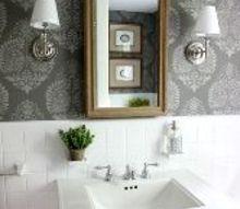 powder room makeover idea using a stencil, bathroom ideas, diy, home decor, painting, wall decor