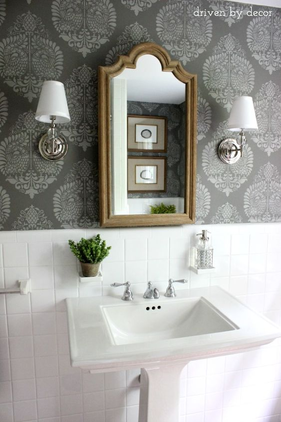 Powder Room Makeover Idea Using A Stencil Hometalk - Powder bathroom ideas