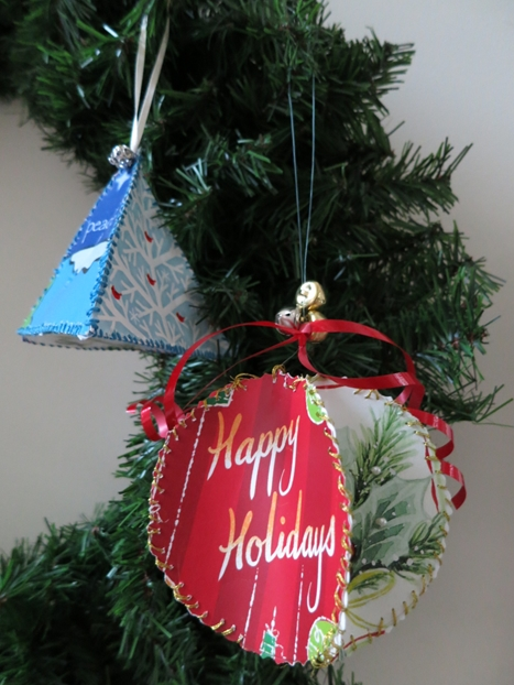 Lovely How To Make Christmas Ornaments Made From Recycled Greeting Cards  CK59