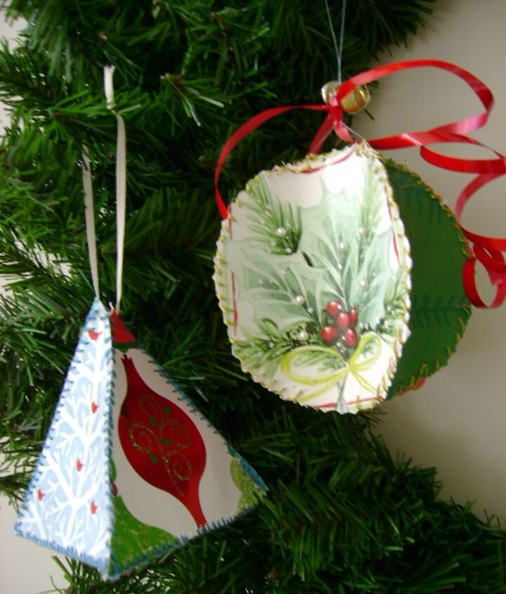 How To Make Christmas Ornaments Made From Recycled Greeting Cards