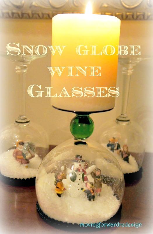 diy stemware snow globes, seasonal holiday decor