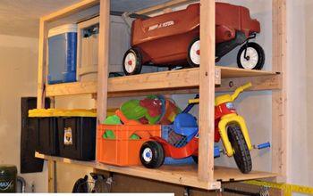 DIY Garage Storage: Ceiling Mounted Shelves