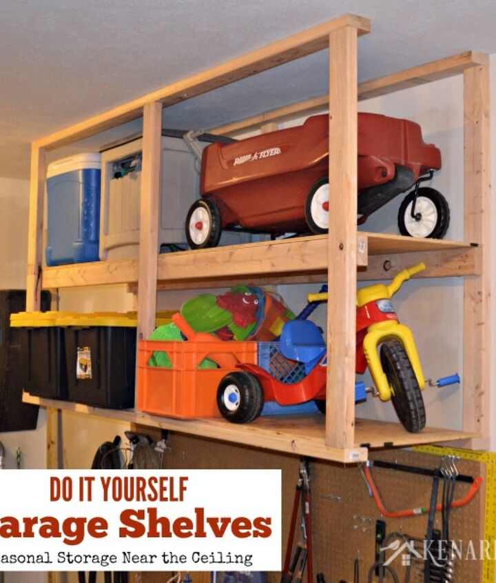 how to create garage storage with ceiling mounted shelves, garages, shelving ideas, storage ideas