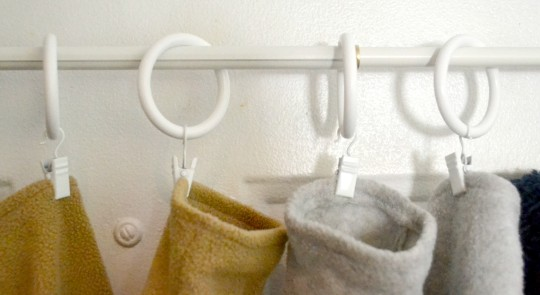 how to organizer winter gear with a curtain rod, home decor, organizing, window treatments
