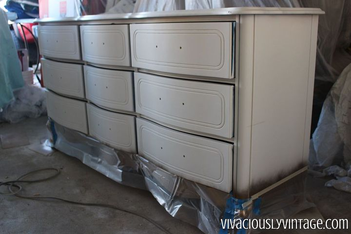 coral gold dipped french provincial dresser, painted furniture
