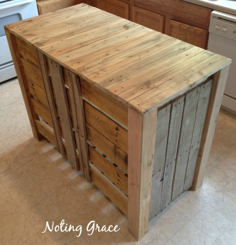 how to make a pallet kitchen island for less than 50 dollars, diy, kitchen design, kitchen island, pallet, repurposing upcycling, woodworking projects