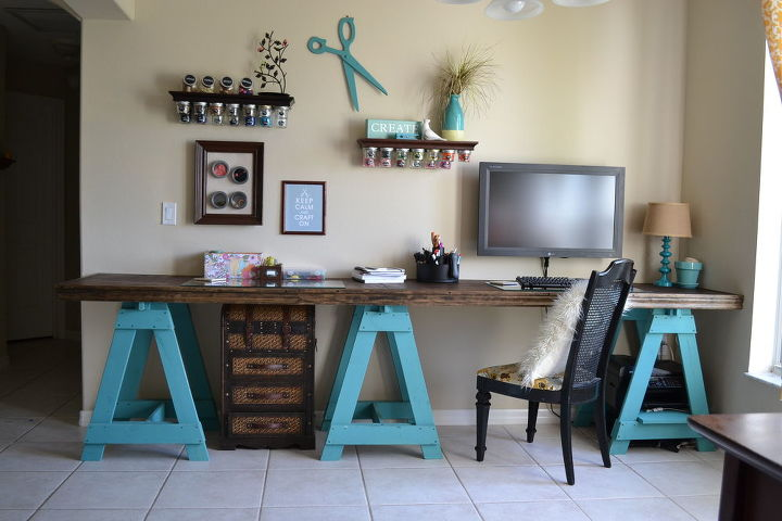 craft room sawhorse desk, craft rooms, crafts, painted furniture