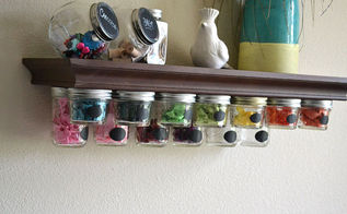 mason jar storage shelf idea, crafts, mason jars, organizing, shelving ideas, storage ideas
