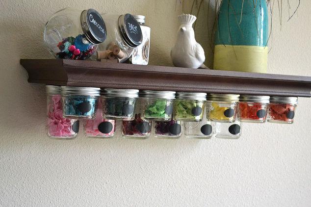 Mason Jar Storage Shelf Idea Crafts Jars Organizing Shelving Ideas