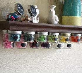 Beautiful Mason Jar Storage Shelf Idea, Crafts, Mason Jars, Organizing, Shelving Ideas ,